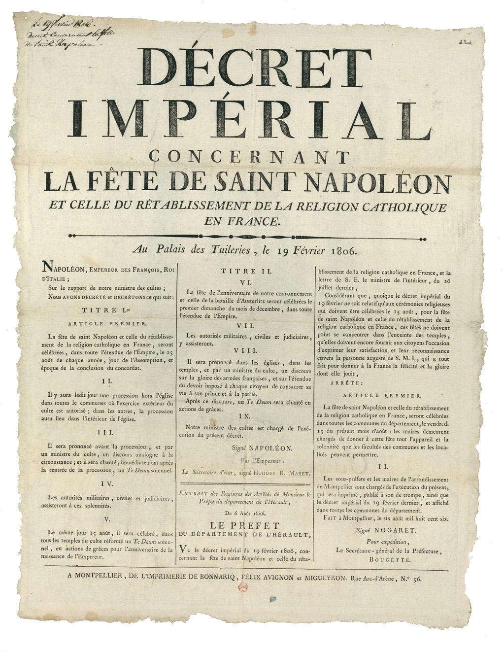 Decreto imperiale sulla festa di san Napoleone, Napoleone imperatore e …